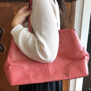 Coach Pink Signature Leather Shoulder Bag Carryall